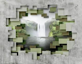 Фотообои 3д стена с водопадом 22966