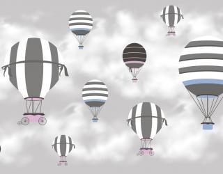Фотообои Воздушные шары на сером фоне 23068