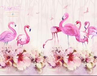 Фотообои Акварельные фламинго 23803