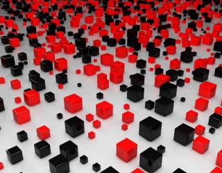 3д фотообои Черние и красные кубы 9920