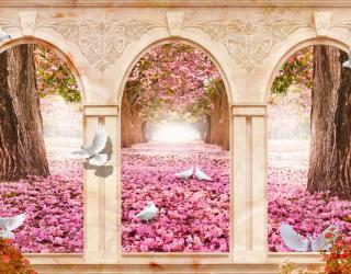 Фотообои Арка и розовые лепестки 22073