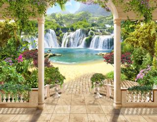 Фотообои вид с арки на водопад 21402