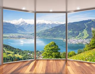 Фотообои  Вид из окна на озеро 22175