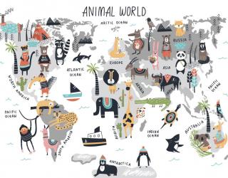 Фотообои Карта мира с животными 23074