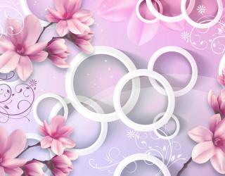 Фотообои Цветы и круги 3d 18749