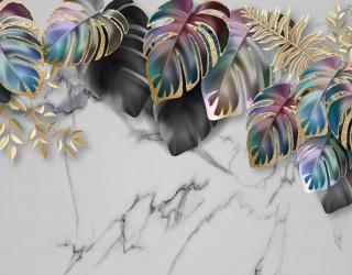 Фотообои Тропические листья на мраморе 27629