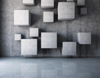 Фотообои Серые кубы на стене 20617