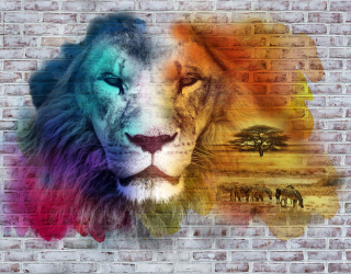 Фотообои Стена 3д со львом 23039