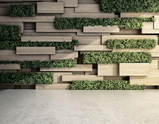 Фотообои 3д стена с зеленью 20058