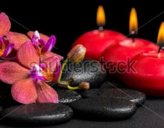 Фотообои Орхидеи, свечи, камни 280198409