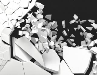 Фотообои разбитая белая стена 20890