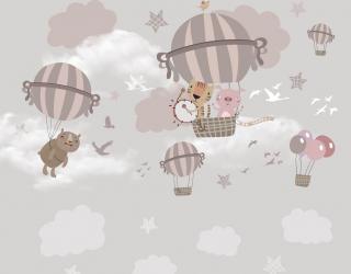 Фотообои Летящие звери на воздушных шарах 23031