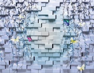 Фотообои Стена, цветы 16348