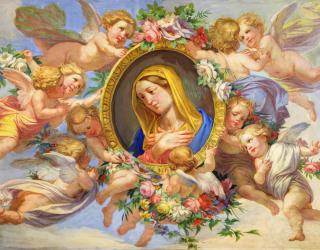 Фотообои фреска дева Мария и ангелы 21315