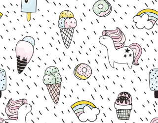 Фотообои Принт с мороженое и единороги 22459