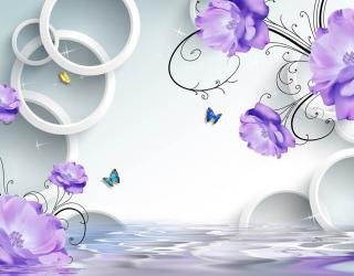 Фотообои Фиолетовые цветы с кругами 23011