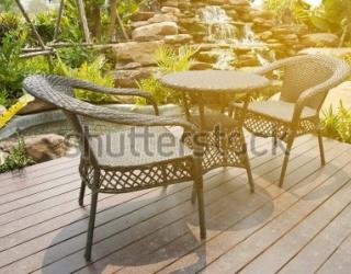 Фотообои Стол, стулья, водопад 450928498