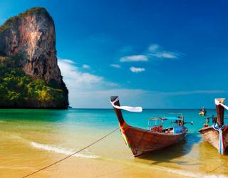 Фотообои Скала, две лодки 2559